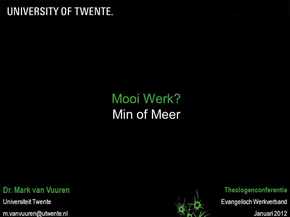 Dr. Mark van Vuuren Universiteit Twente m.vanvuuren@utwente.nl Theologenconferentie Evangelisch Werkverband Januari 2012 Mooi Werk? Min of Meer