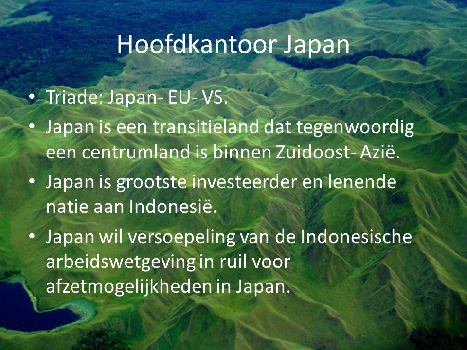 Hoofdkantoor Japan Triade: Japan- EU- VS. Japan is een transitieland dat tegenwoordig een centrumland is binnen Zuidoost- Azië. Japan is grootste inve