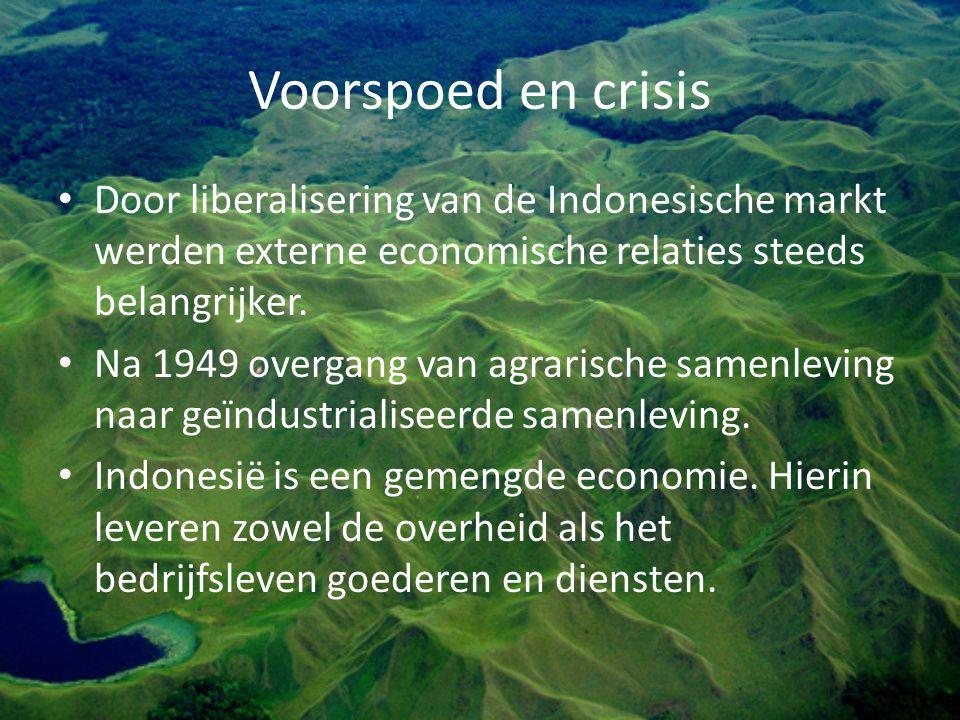 Voorspoed en crisis Door liberalisering van de Indonesische markt werden externe economische relaties steeds belangrijker. Na 1949 overgang van agrari