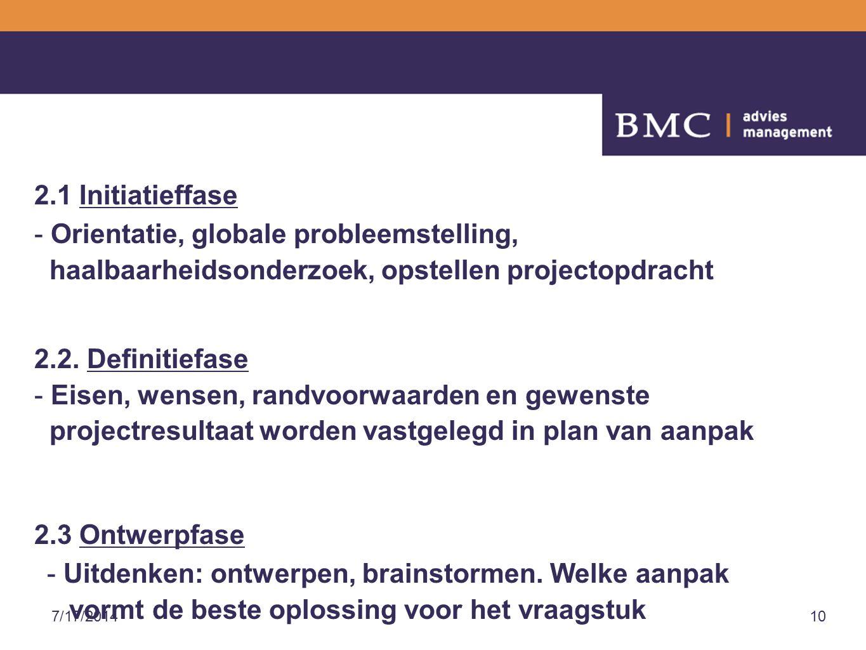 7/17/201410 2.1 Initiatieffase - Orientatie, globale probleemstelling, haalbaarheidsonderzoek, opstellen projectopdracht 2.2.