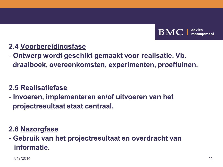 7/17/201411 2.4 Voorbereidingsfase - Ontwerp wordt geschikt gemaakt voor realisatie.