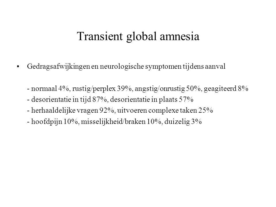 Transient global amnesia Gedragsafwijkingen en neurologische symptomen tijdens aanval - normaal 4%, rustig/perplex 39%, angstig/onrustig 50%, geagitee