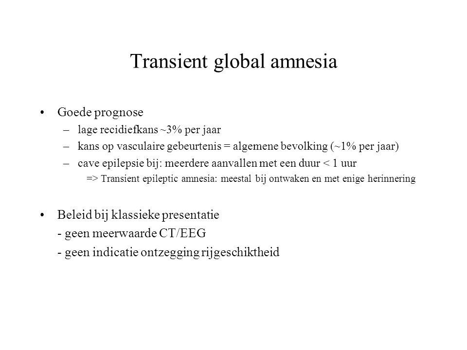 Transient global amnesia Goede prognose –lage recidiefkans ~3% per jaar –kans op vasculaire gebeurtenis = algemene bevolking (~1% per jaar) –cave epil