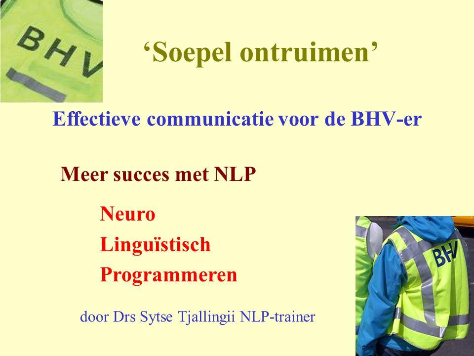 1 'Soepel ontruimen' Effectieve communicatie voor de BHV-er Meer succes met NLP Neuro Linguïstisch Programmeren door Drs Sytse Tjallingii NLP-trainer