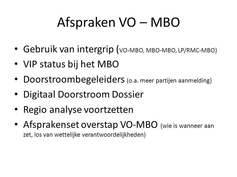 Afspraken VO – MBO Gebruik van intergrip ( VO-MBO, MBO-MBO, LP/RMC-MBO) VIP status bij het MBO Doorstroombegeleiders (o.a. meer partijen aanmelding) D