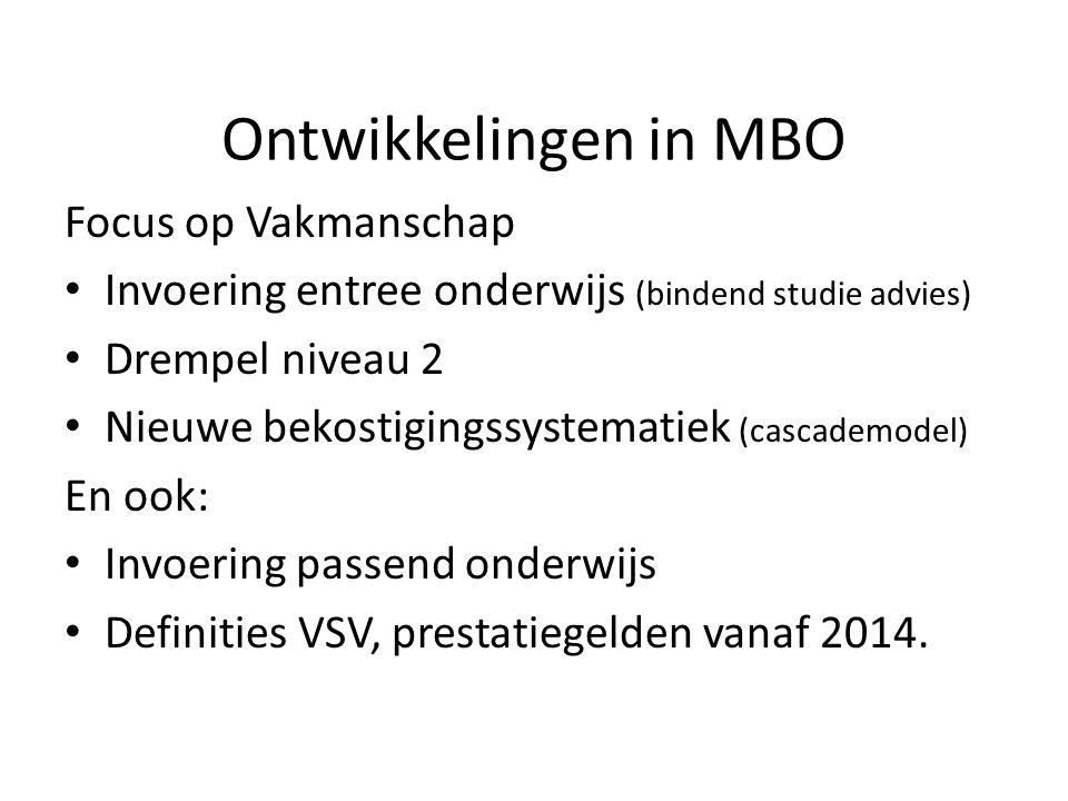 Ontwikkelingen in MBO Focus op Vakmanschap Invoering entree onderwijs (bindend studie advies) Drempel niveau 2 Nieuwe bekostigingssystematiek (cascade