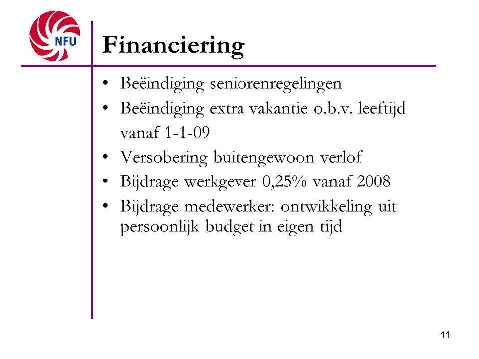 11 Financiering Beëindiging seniorenregelingen Beëindiging extra vakantie o.b.v. leeftijd vanaf 1-1-09 Versobering buitengewoon verlof Bijdrage werkge