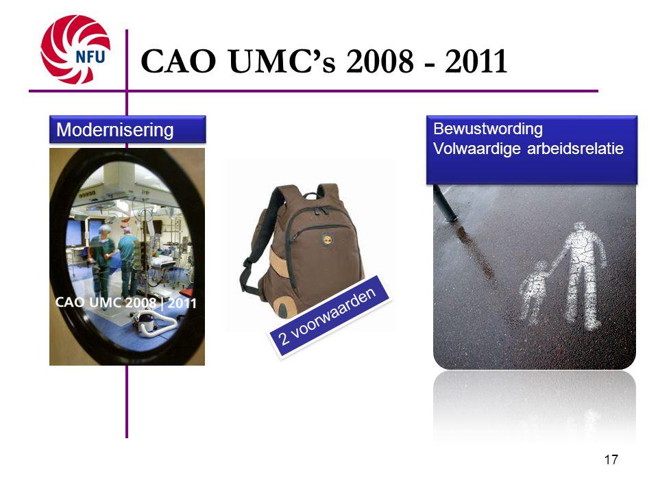 17 CAO UMC's 2008 - 2011 2 voorwaarden Bewustwording Volwaardige arbeidsrelatie Modernisering