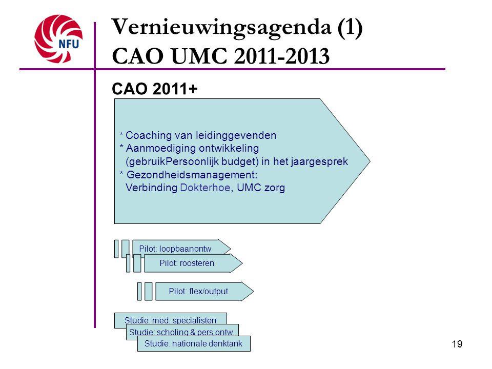 19 Vernieuwingsagenda (1) CAO UMC 2011-2013 * Coaching van leidinggevenden * Aanmoediging ontwikkeling (gebruikPersoonlijk budget) in het jaargesprek