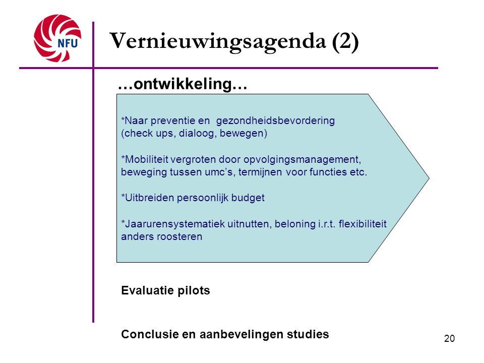 20 Vernieuwingsagenda (2) * Naar preventie en gezondheidsbevordering (check ups, dialoog, bewegen) *Mobiliteit vergroten door opvolgingsmanagement, be