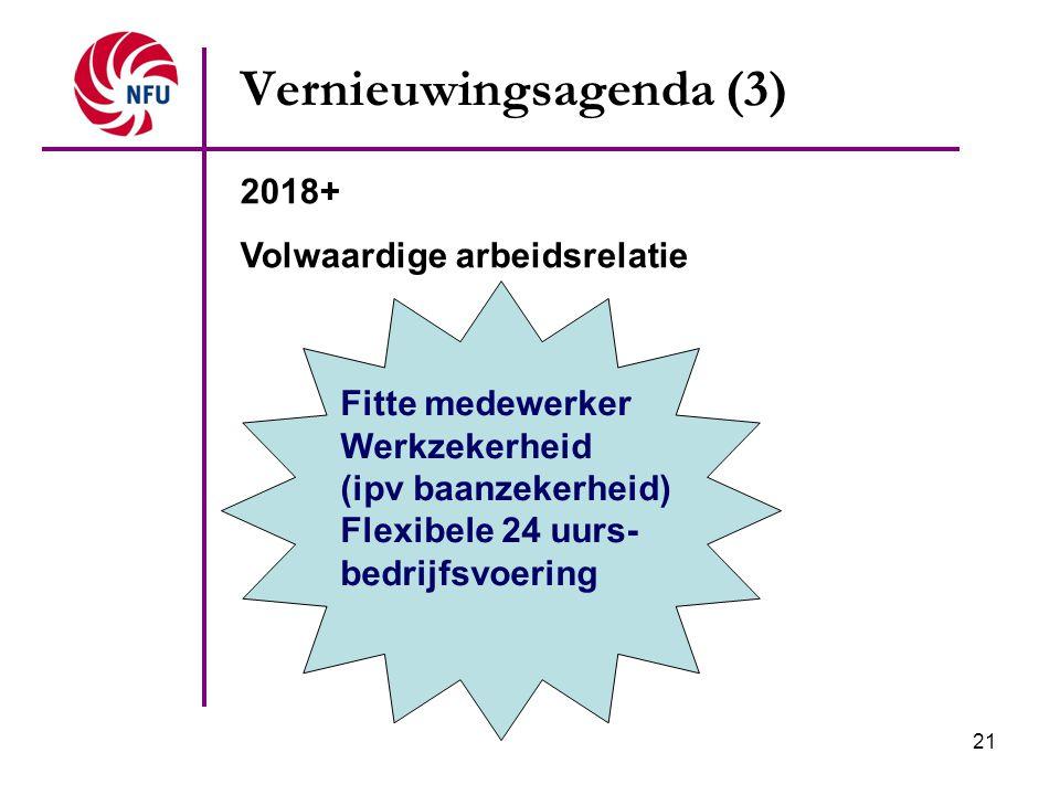 21 Vernieuwingsagenda (3) Fitte medewerker Werkzekerheid (ipv baanzekerheid) Flexibele 24 uurs- bedrijfsvoering 2018+ Volwaardige arbeidsrelatie