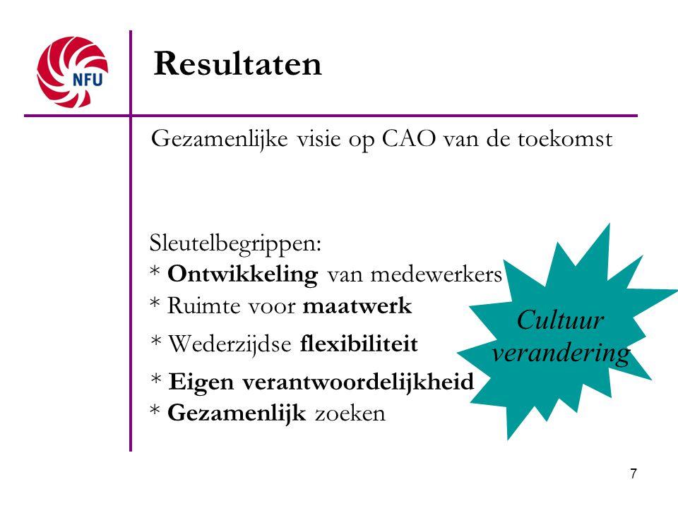 7 Gezamenlijke visie op CAO van de toekomst Sleutelbegrippen: * Ontwikkeling van medewerkers * Ruimte voor maatwerk * Wederzijdse flexibiliteit * Eige