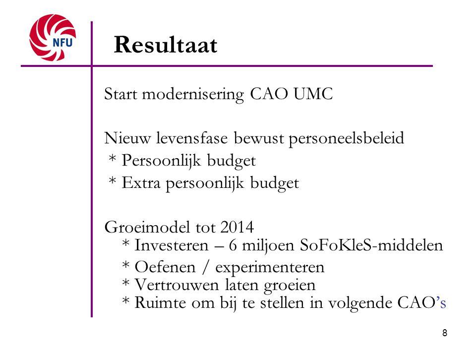 8 Resultaat Start modernisering CAO UMC Nieuw levensfase bewust personeelsbeleid * Persoonlijk budget * Extra persoonlijk budget Groeimodel tot 2014 *