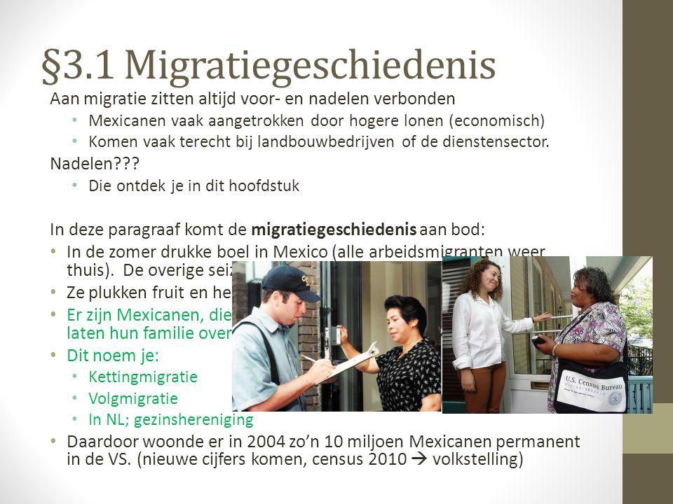 §3.1 Migratiegeschiedenis Aan migratie zitten altijd voor- en nadelen verbonden Mexicanen vaak aangetrokken door hogere lonen (economisch) Komen vaak