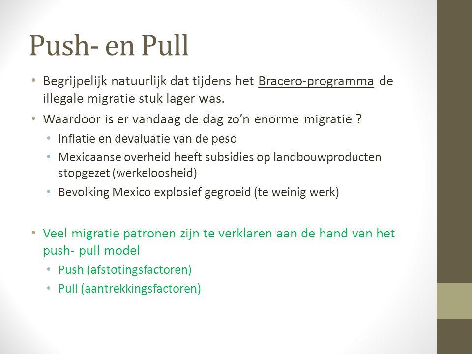Push- en Pull Begrijpelijk natuurlijk dat tijdens het Bracero-programma de illegale migratie stuk lager was. Waardoor is er vandaag de dag zo'n enorme
