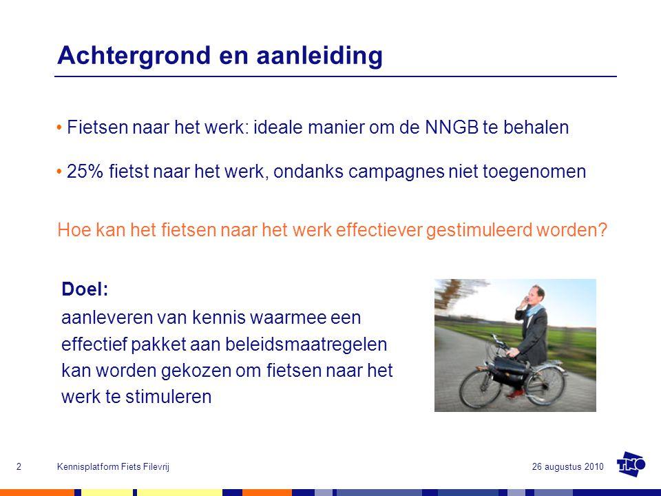26 augustus 2010Kennisplatform Fiets Filevrij2 Achtergrond en aanleiding Fietsen naar het werk: ideale manier om de NNGB te behalen 25% fietst naar he