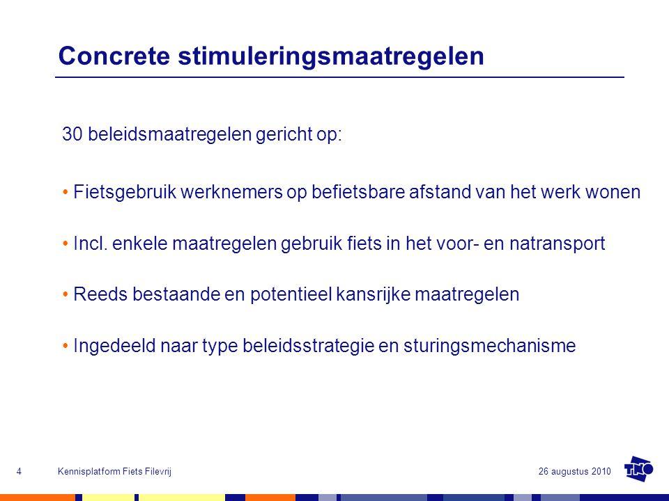 26 augustus 2010Kennisplatform Fiets Filevrij4 Concrete stimuleringsmaatregelen 30 beleidsmaatregelen gericht op: Fietsgebruik werknemers op befietsba