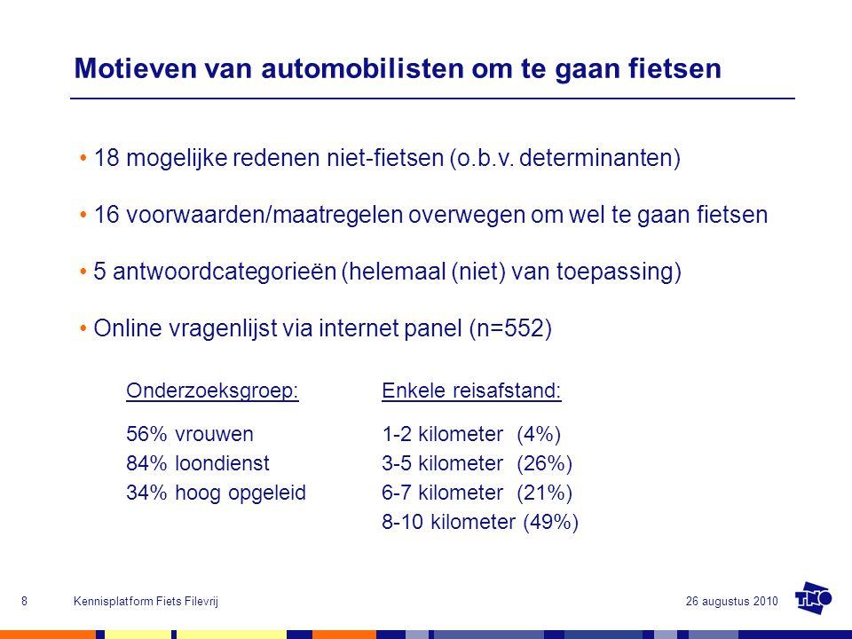 26 augustus 2010Kennisplatform Fiets Filevrij8 Motieven van automobilisten om te gaan fietsen 18 mogelijke redenen niet-fietsen (o.b.v. determinanten)
