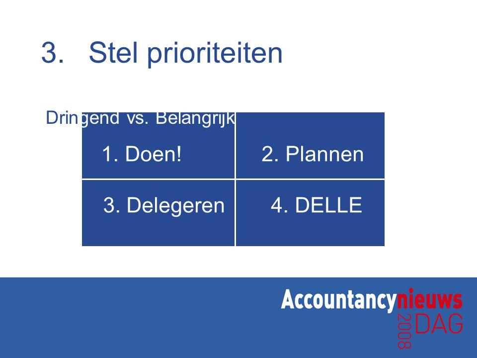 1.Doen! 2. Plannen 3. Delegeren 4. DELLE 3.Stel prioriteiten Dringend vs. Belangrijk