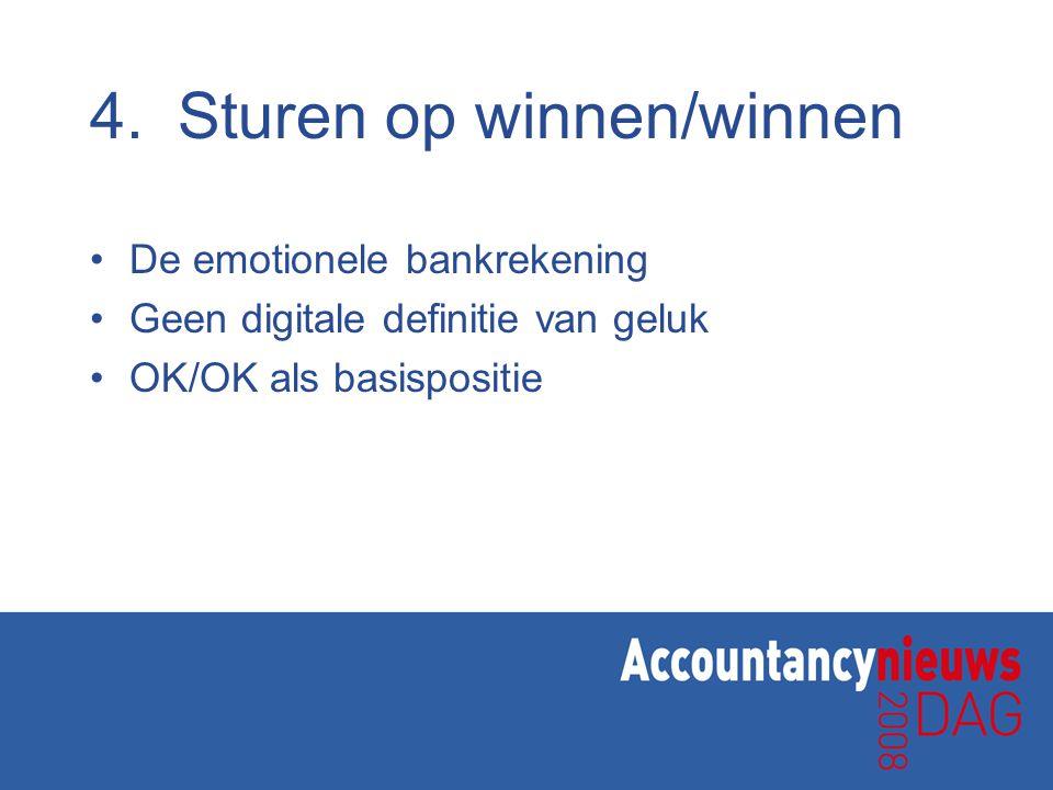 4.Sturen op winnen/winnen De emotionele bankrekening Geen digitale definitie van geluk OK/OK als basispositie