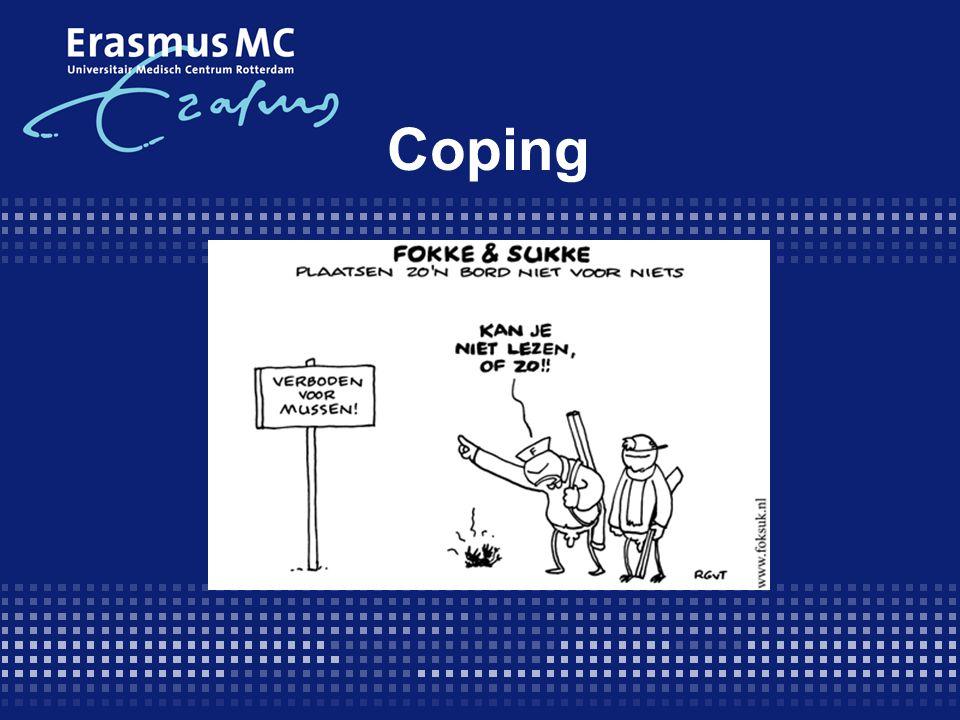 Inhoud  Implicaties chronische ziekte  Begripsdefinitie Coping  2 Modellen  Goede en slechte coping  Psychosociale interventies  Meten van coping (3 vragenlijsten)  Meten van KvL