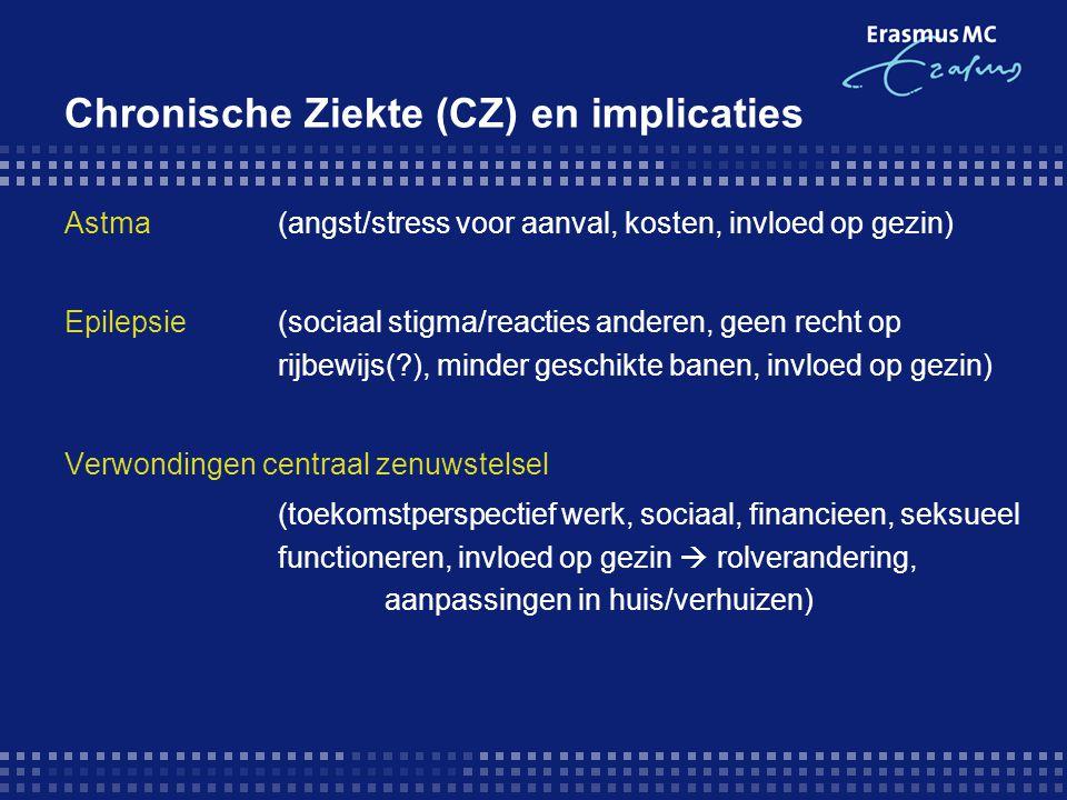 CZ en implicaties Diabetes (medicatietrouw, sociaal functioneren) Artritis (Reuma) (pijn  school/werkverzuim, sociaal functioneren, invloed op gezin) Alzheimer (invloed op gezins/familie, hulpeloosheid) Overig