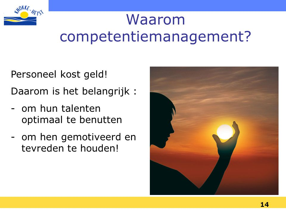 13 1. Knokke-Heist 3. Competentie- management 2. Beleid en inbedding HRM Inhoud
