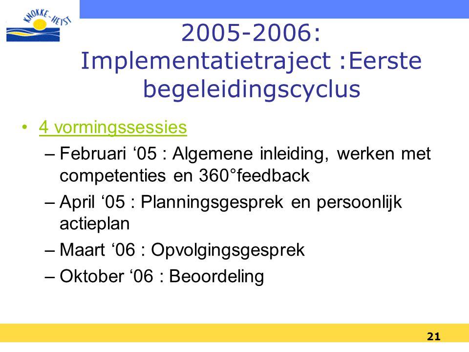 21 2005-2006: Implementatietraject :Eerste begeleidingscyclus 4 vormingssessies –Februari '05 : Algemene inleiding, werken met competenties en 360°feedback –April '05 : Planningsgesprek en persoonlijk actieplan –Maart '06 : Opvolgingsgesprek –Oktober '06 : Beoordeling