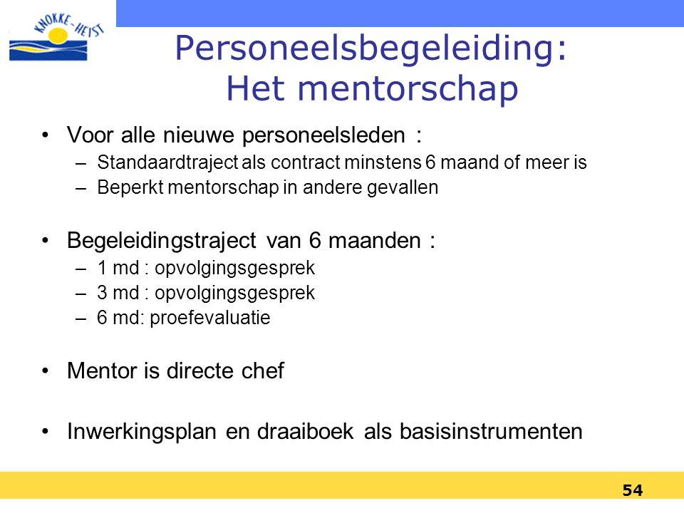 53 Personeelsbegeleiding : Het mentorschap Onthaalsessie en terugkomsessie : –Voor alle nieuwkomers met contract langer dan 3m –Onthaalsessie 6 x per