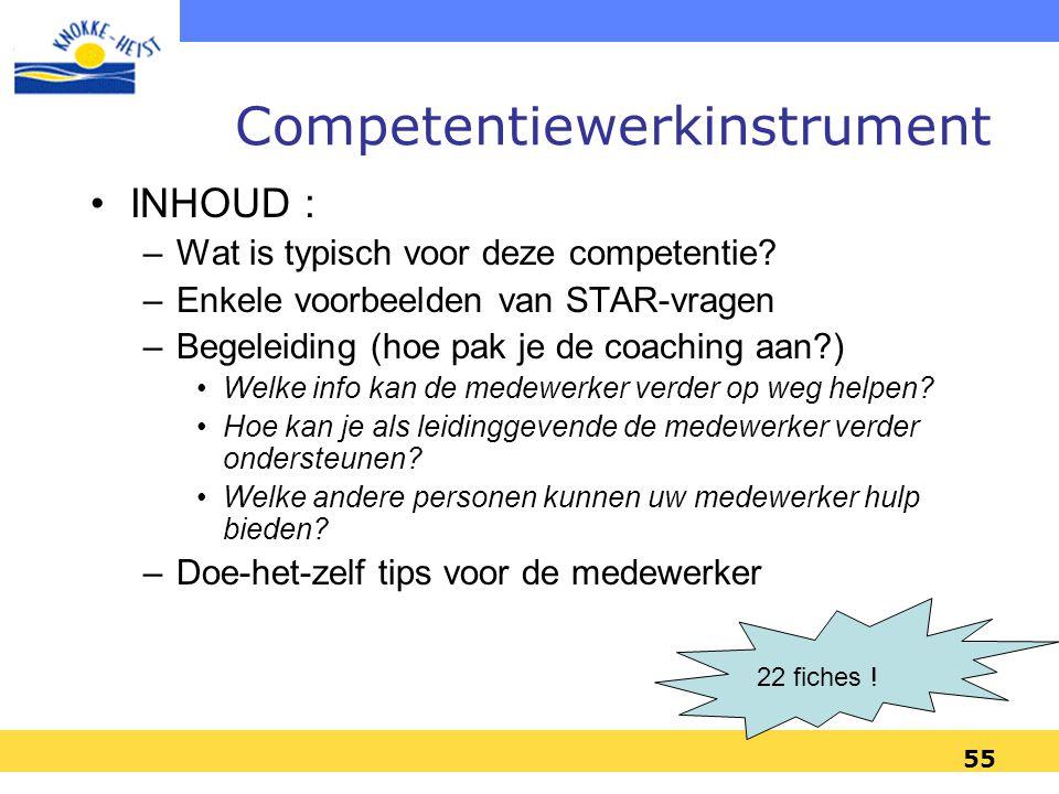 55 Competentiewerkinstrument INHOUD : –Wat is typisch voor deze competentie.