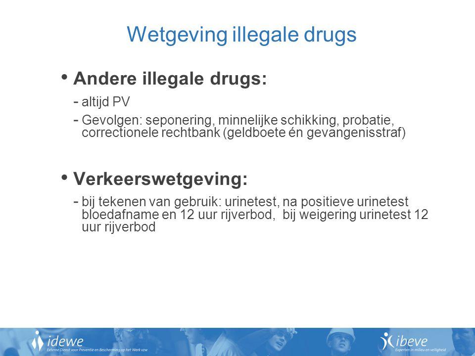 Wetgeving illegale drugs Andere illegale drugs: - altijd PV - Gevolgen: seponering, minnelijke schikking, probatie, correctionele rechtbank (geldboete