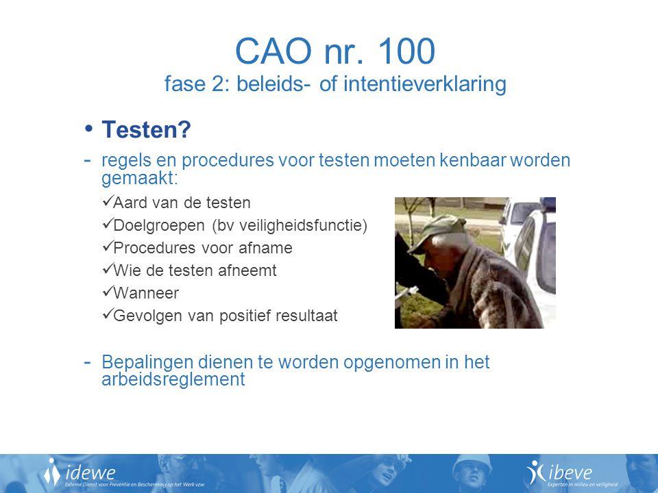 CAO nr. 100 fase 2: beleids- of intentieverklaring Testen? - regels en procedures voor testen moeten kenbaar worden gemaakt: Aard van de testen Doelgr