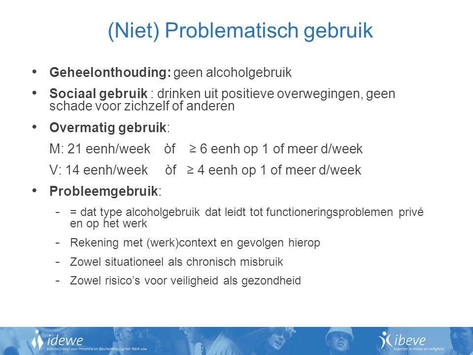 (Niet) Problematisch gebruik Geheelonthouding: geen alcoholgebruik Sociaal gebruik : drinken uit positieve overwegingen, geen schade voor zichzelf of