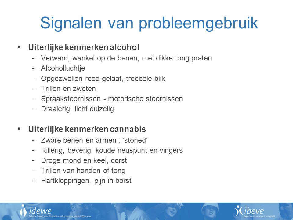 Signalen van probleemgebruik Gedragssignalen - Herhaalde dronkenschap - Drankgebruik minimaliseren, rationaliseren.