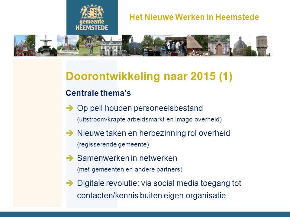 Het Nieuwe Werken in Heemstede Doorontwikkeling naar 2015 (1) Centrale thema's èOp peil houden personeelsbestand (uitstroom/krapte arbeidsmarkt en ima