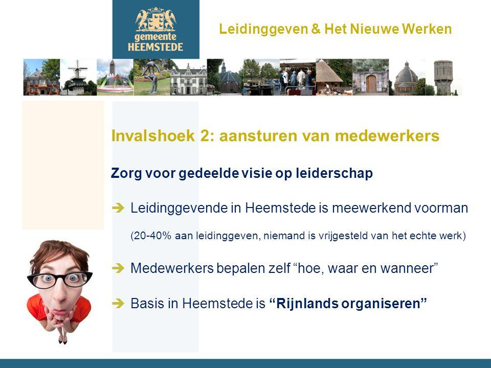 Invalshoek 2: aansturen van medewerkers Zorg voor gedeelde visie op leiderschap èLeidinggevende in Heemstede is meewerkend voorman (20-40% aan leiding