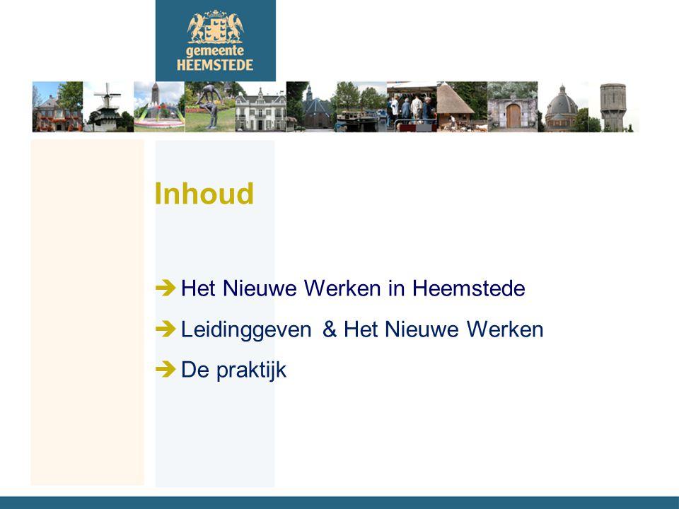Inhoud èHet Nieuwe Werken in Heemstede èLeidinggeven & Het Nieuwe Werken èDe praktijk