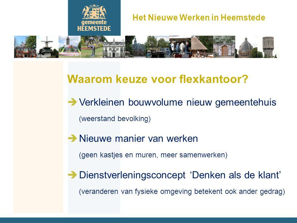 Waarom keuze voor flexkantoor? èVerkleinen bouwvolume nieuw gemeentehuis (weerstand bevolking) èNieuwe manier van werken (geen kastjes en muren, meer