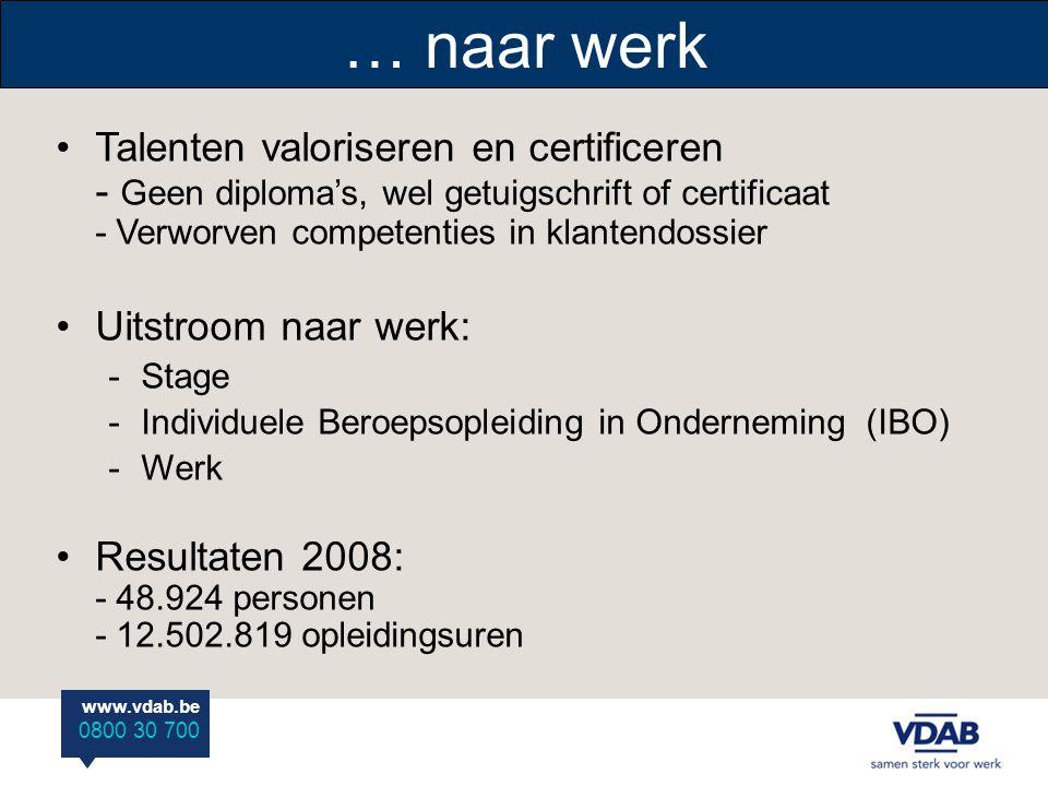 www.vdab.be 0800 30 700 Talenten valoriseren en certificeren - Geen diploma's, wel getuigschrift of certificaat - Verworven competenties in klantendossier Uitstroom naar werk: -Stage -Individuele Beroepsopleiding in Onderneming (IBO) -Werk Resultaten 2008: - 48.924 personen - 12.502.819 opleidingsuren … naar werk