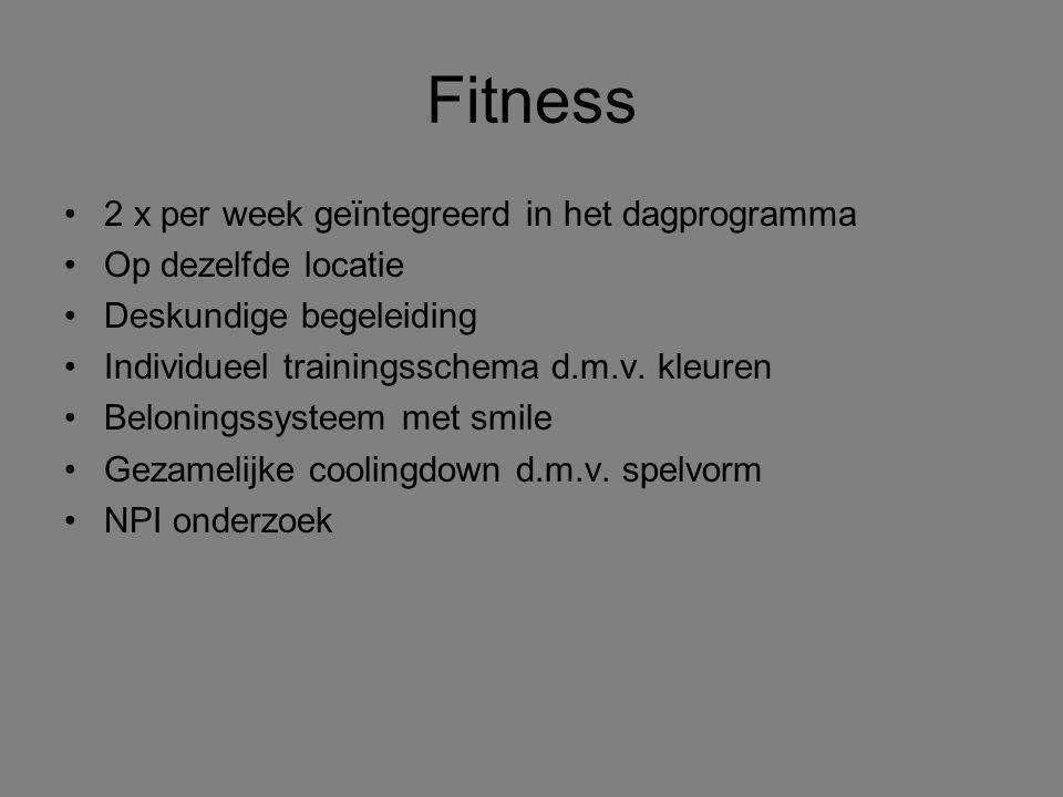 Fitness 2 x per week geïntegreerd in het dagprogramma Op dezelfde locatie Deskundige begeleiding Individueel trainingsschema d.m.v. kleuren Beloningss