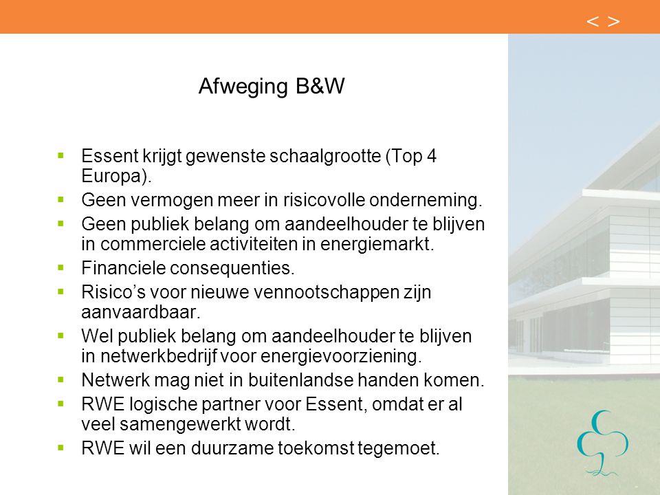 Afweging B&W  Essent krijgt gewenste schaalgrootte (Top 4 Europa).