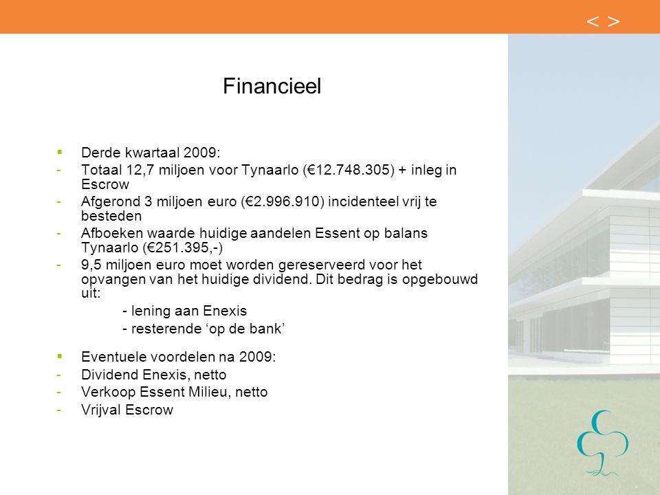 Financieel  Derde kwartaal 2009: -Totaal 12,7 miljoen voor Tynaarlo (€12.748.305) + inleg in Escrow -Afgerond 3 miljoen euro (€2.996.910) incidenteel vrij te besteden -Afboeken waarde huidige aandelen Essent op balans Tynaarlo (€251.395,-) -9,5 miljoen euro moet worden gereserveerd voor het opvangen van het huidige dividend.