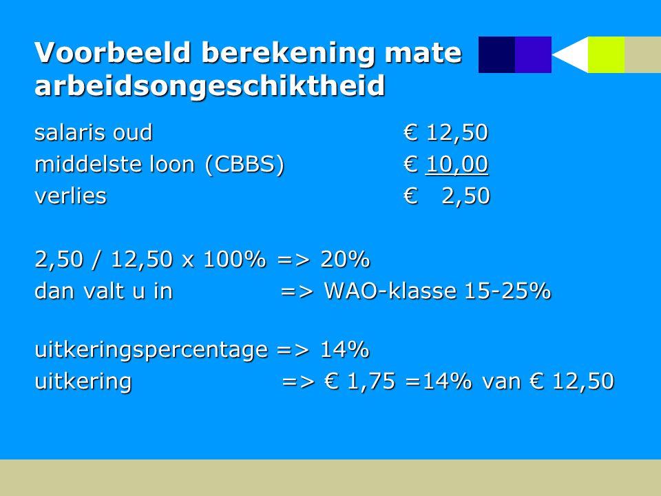 Voorbeeld berekening mate arbeidsongeschiktheid salaris oud € 12,50 middelste loon (CBBS) € 10,00 verlies € 2,50 2,50 / 12,50 x 100% => 20% dan valt u in => WAO-klasse 15-25% uitkeringspercentage => 14% uitkering => € 1,75 =14% van € 12,50