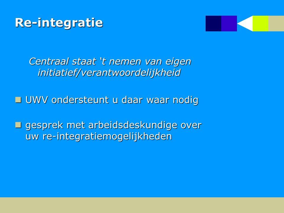 Re-integratie Centraal staat 't nemen van eigen initiatief/verantwoordelijkheid UWV ondersteunt u daar waar nodig UWV ondersteunt u daar waar nodig gesprek met arbeidsdeskundige over uw re-integratiemogelijkheden gesprek met arbeidsdeskundige over uw re-integratiemogelijkheden