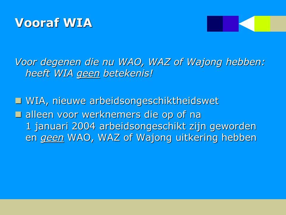 Vooraf WIA Voor degenen die nu WAO, WAZ of Wajong hebben: heeft WIA geen betekenis.