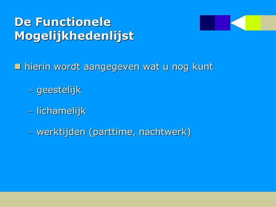De Functionele Mogelijkhedenlijst hierin wordt aangegeven wat u nog kunt hierin wordt aangegeven wat u nog kunt geestelijk lichamelijk werktijden (parttime, nachtwerk)