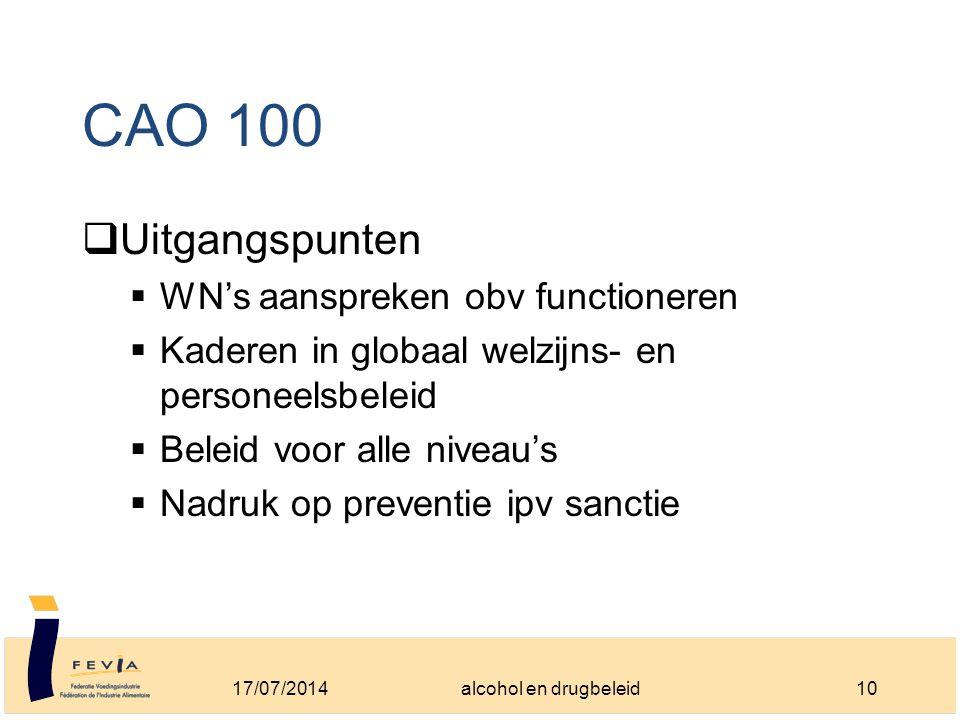 CAO 100  Uitgangspunten  WN's aanspreken obv functioneren  Kaderen in globaal welzijns- en personeelsbeleid  Beleid voor alle niveau's  Nadruk op preventie ipv sanctie 17/07/201410alcohol en drugbeleid