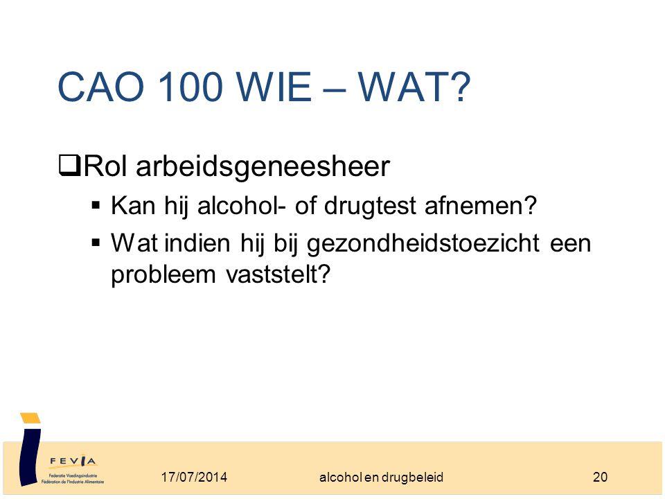 CAO 100 WIE – WAT.  Rol arbeidsgeneesheer  Kan hij alcohol- of drugtest afnemen.