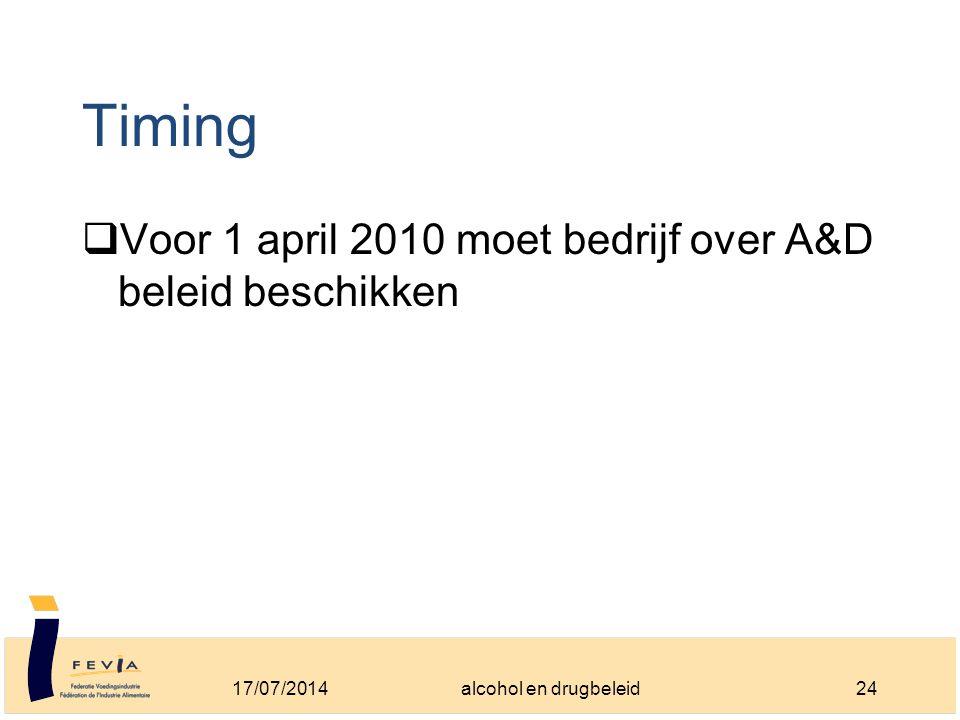 Timing  Voor 1 april 2010 moet bedrijf over A&D beleid beschikken 17/07/201424alcohol en drugbeleid