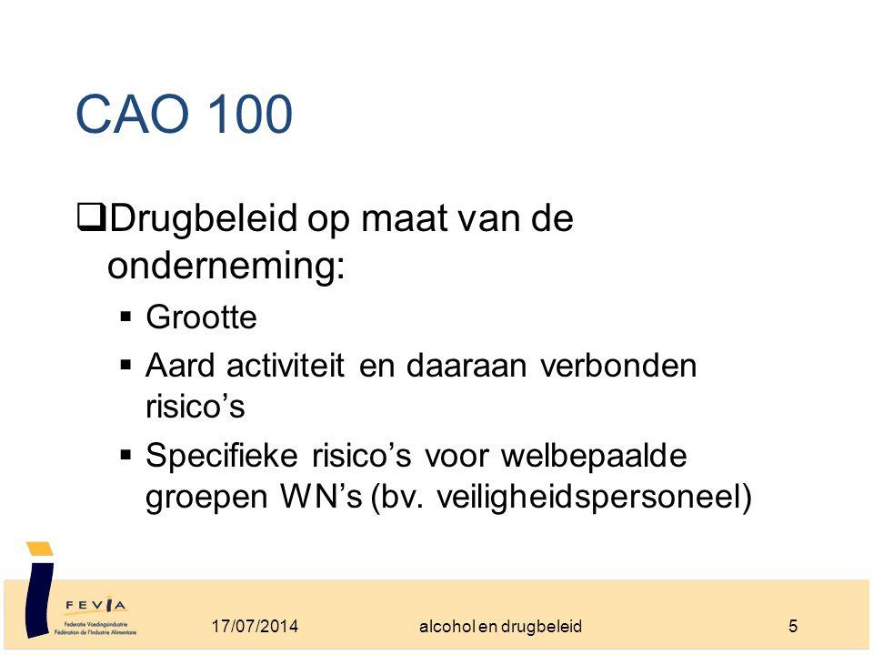 CAO 100  Drugbeleid op maat van de onderneming:  Grootte  Aard activiteit en daaraan verbonden risico's  Specifieke risico's voor welbepaalde groepen WN's (bv.